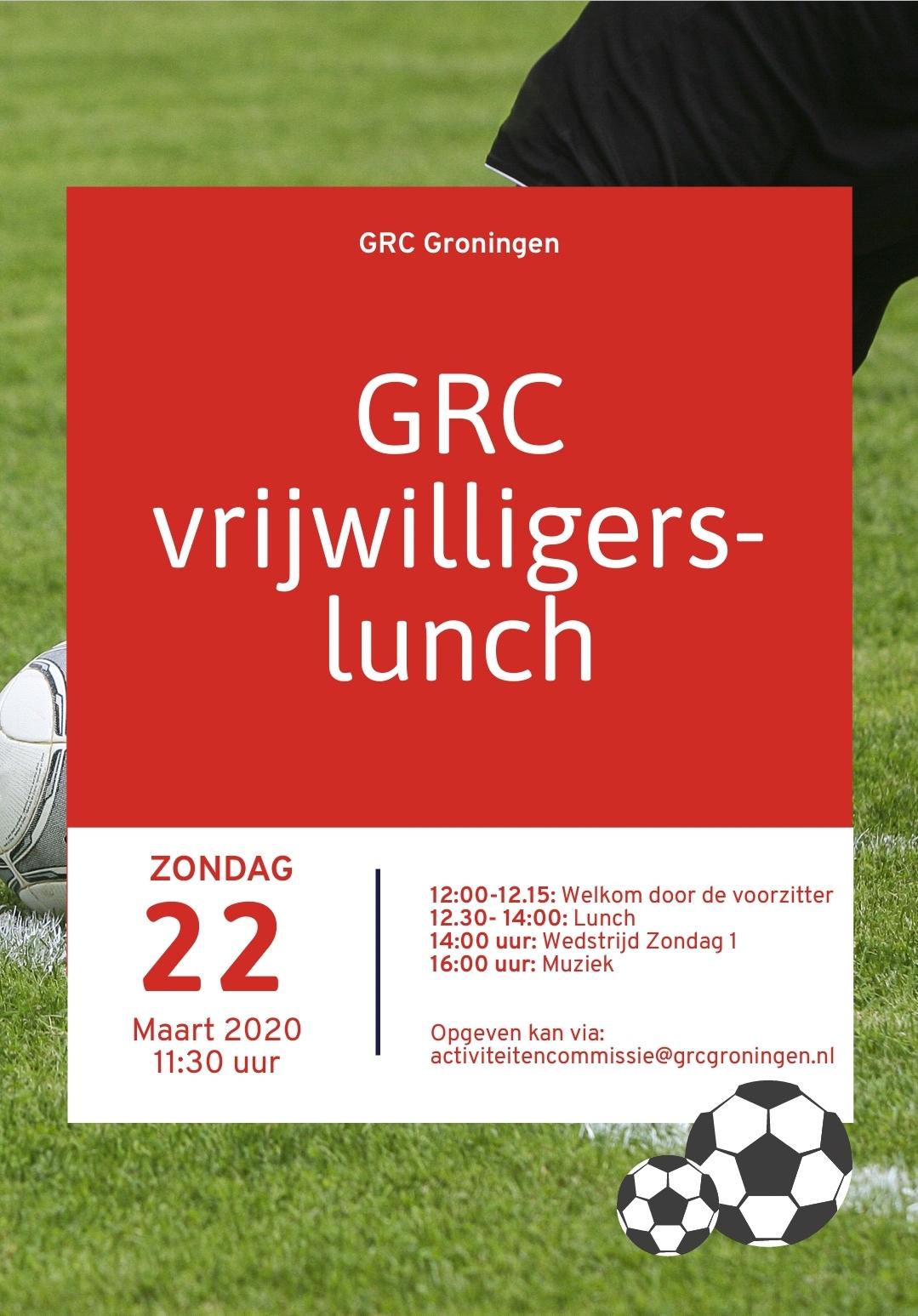 UPDATE: GRC vrijwilligerslunch 22 maart wordt verplaatst naar nieuwe datum