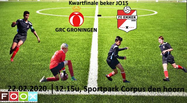 22 Februari kwartfinale beker GRC JO15-1- FC EMMEN JO15-1